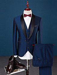 cheap -Royal Blue Solid Colored Slim Fit Spandex / Cotton / Polyester Suit - Shawl Collar Single Breasted One-button / Suits