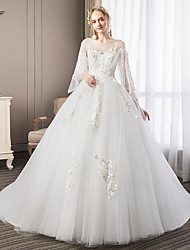 cheap -Ball Gown Wedding Dresses V Wire Floor Length Lace Tulle Long Sleeve Romantic with Pleats 2020