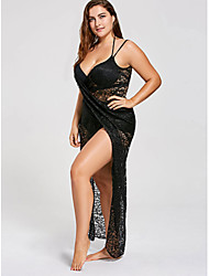 cheap -Women's Strap Dress Maxi long Dress - Sleeveless Solid Color Lace Summer Casual 2020 Black XL XXL 3XL