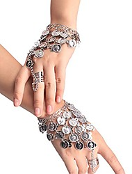 cheap -women ladies belly dance gypsy jewelry triangle coin bracelet wrist bangle ring silver