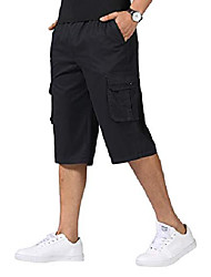 cheap -men's casual cargo shorts loose fit outdoor wear twill elastic waist shorts with pockets