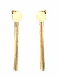 cheap -14k gold plated small round disc tassel threader geometric dangle earrings stainless steel line ear for women girl