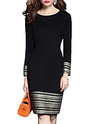 cheap -Women's Sheath Dress Knee Length Dress - Long Sleeve Print Print Fall Elegant Slim 2020 Black S M L XL XXL 3XL 4XL