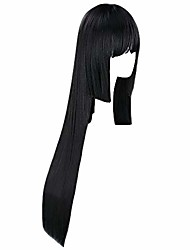 cheap -women's 40 inch long black straight wig with bangs full fringe for cosplay party (black)