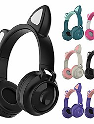 cheap -Wireless Headphone Portable Cute Cat Ear Headphone Foldable Handsfree Earphone Headset with Light and Built-in Microphone for Smartphones PC Laptop Birthday Gifts
