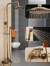 cheap -Shower System Set, Height Adjustable Antique Brass Handshower and 	Faucet Body and Handle Wall Installation Pull Out Waterfall Contain Rain Shower,Bodysprays,Drain and Hot/Cold Water