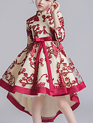 cheap -Kids Little Girls' Dress Floral Solid Colored Lace Blue Red Blushing Pink Asymmetrical 3/4 Length Sleeve Flower Chinoiserie Dresses Children's Day Regular Fit