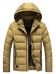 cheap -men's winter thickened quilted lined hooded alternative down coat (large, khaki)