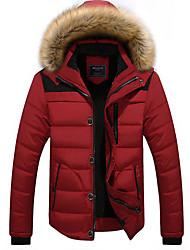cheap -Men's Parka Parka Solid Colored Cotton Black / Red / Khaki M / L / XL