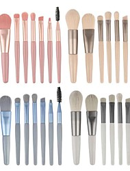 cheap -New 8 Mini Make-Up Brush Matte Silk Handle Portable Soft Hair Make-Up Brush Set Beauty Tools