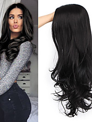 cheap -Black Wavy Wigs for Women Long Curly Wig Synthetic Party Wigs Middle Part Full Wigs Natural Looking
