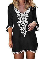cheap -women's crochet chiffon tassel swimsuit bikini pom pom swimwear beach cover up black m