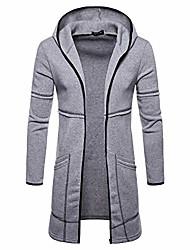 cheap -ttoohhh men's slim fit long zipper hooded solid color trench coat jacket outwear windbreaker overcoat gray