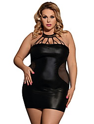 cheap -Women's Lace Plus Size Suits Nightwear Solid Colored Black M XL 3XL