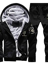 cheap -men's winter fleece tracksuit lightweight soft thick hooded jogging sweat suits warm coats (l, black)