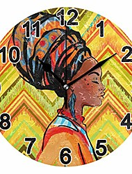 cheap -keige africa black woman lady wall clock 9.8 inch non ticking for girl boy bedroom folk-custom acrylic round clock for bathroom kitchen living room office 2110010