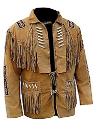 cheap -cocobee lightweight men's western cowboy real suede leather jacket with fringe and beaded american jacket black