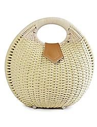 cheap -womens summer hand weave straw top handle handbag clutches