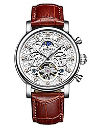 cheap -tourbillon skeleton automatic watch for men's multi-function mechanical leather band watch (white silver brown)