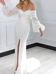 cheap -Sheath / Column Wedding Dresses Off Shoulder Court Train Chiffon Long Sleeve Simple with 2020