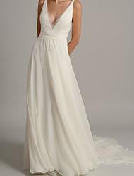 cheap -A-Line Wedding Dresses V Neck Court Train Chiffon Sleeveless Simple Beach with 2021