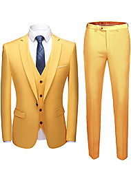 cheap -Yellow Solid Colored Tailored Fit Polyester Suit - Notch Single Breasted One-button / Suits