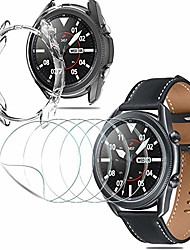 cheap -[5 pack] screen protector + [1 pack] soft tpu protective bumper shell for samsung galaxy watch 3 (45mm), (flexible film) hd clear anti-scratch fingerprint [3d touch] case friendly