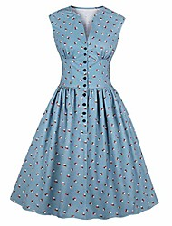 cheap -burfly women's retro floral tea dress, 40s & 50s vintage style dresses, sleeveless split v neck buttoned a-line dress, tummy control country dress, size 8-16 uk blue