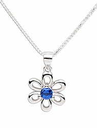 cheap -girls sterling silver daisy simulated september birthstone necklace for children
