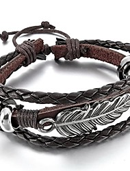 cheap -men,women's alloy leather bracelet bangle cuff silver tone brown angel wing feather adjustable