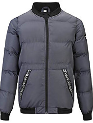 cheap -men's puffer jacket insulated down alternative outerwear coats grey size l