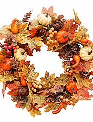 cheap -fall wreath garland autumn artificial pumpkin berries maple leaves harvest wreath halloween thanksgiving front door decor