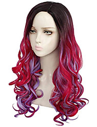 cheap -women long wave pink and blue mixed cosplay wig halloween costumes anime party wig heat resistance games cosplay costume wig