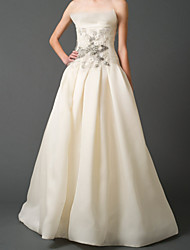 cheap -A-Line Wedding Dresses Strapless Floor Length Tulle Sleeveless Romantic with Beading Appliques 2021