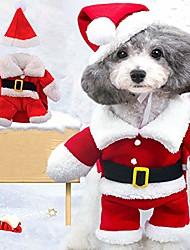 cheap -christmas pet clothes,puppy jumpsuit hoodies christmas pet santa claus suit costumes dog cats clothes m