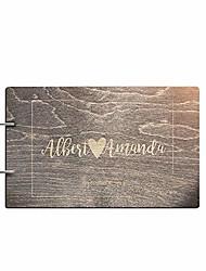 cheap -personalized handmade mr mrs wedding guest book for bride and groom wood alternative custom engraved newlywed marriage album (design 04, black walnut)