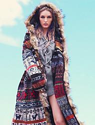 cheap -Women's Print Active Spring &  Fall Trench Coat Long Holiday Long Sleeve Wool Coat Tops Rainbow
