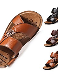 cheap -Men's Sandals Comfort Shoes Casual Comfort Outdoor Beach Walking Shoes PU Leather Breathable Black Khaki Brown Spring Summer