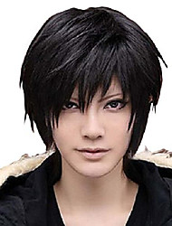 cheap -men's beautiful black short straight hair wig for cosplay party (one size)