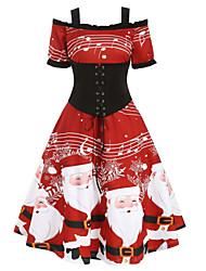 cheap -Women's A-Line Dress Short Mini Dress - Short Sleeve Print Ruffle Lace up Patchwork Winter Sexy Christmas Puff Sleeve 2020 Red S M L XL XXL 3XL