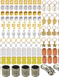 cheap -137PCS Wig Hair Braid Ring Suit With Multiple Combination Hair Rings Imitation Wood Decoration Alloy Video Shell Pendant Aluminum