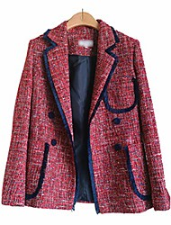 cheap -women double breasted suit jacket female casual blazers and jackets chic british tassel patchwork tweed blazers coats gray