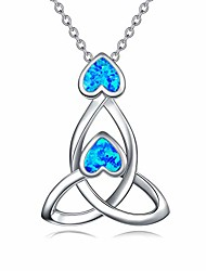 cheap -925 sterling silver celtic knot triquetra love heart pendnant necklace blue created opal good luck irish gifts jewelry for women,18inch