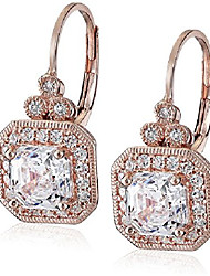 cheap -rose gold plated sterling silver antique drop earrings set with asscher cut swarovski zirconia