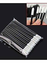 cheap -50 pcs disposable lip brush eyelash makeups brushes lash extension mascara applicator lipstick wands set cosmetic makeup tools (color : black)