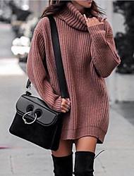 cheap -Women's Sweater Jumper Dress Short Mini Dress - Long Sleeve Solid Color Fall Winter Casual 2020 Purple Blushing Pink Orange Dusty Blue Gray S M L XL XXL 3XL 4XL 5XL