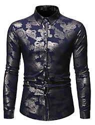 cheap -men's rose floral long sleeve dress shirts shiny satin silk like jacquard party prom shirt tops zlcl24-off-white medium