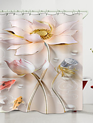 cheap -Pink lotus Red Yellow Carp Digital Printing Shower Curtain Shower Curtains  Hooks Modern Polyester New Design 72 Inch