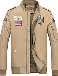 cheap -mens casual lightweight bomber jacket fashion front zip cotton coat air force military jacket khaki size xl