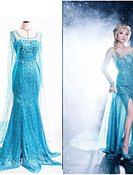 cheap -Princess Dress Cosplay Costume Women's Movie Cosplay Vacation Halloween Blue Dress Halloween Carnival Masquerade Polyester Organza